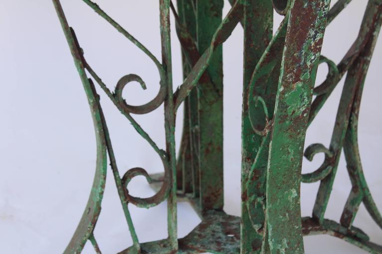 1920s French Slate Table with Painted Green Base For Sale 3
