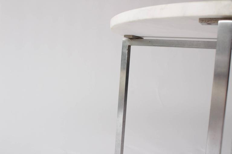 Vintage Knoll Attributed Marble and Metal Side Table In Excellent Condition For Sale In Los Angeles, CA