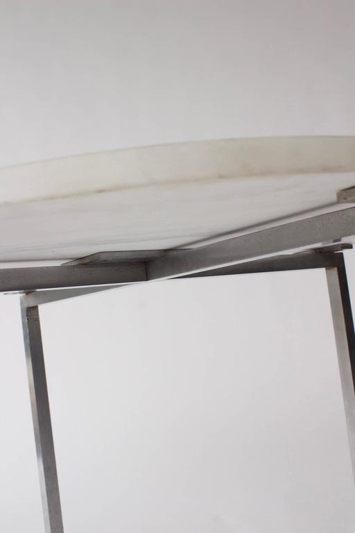 Vintage Knoll Attributed Marble and Metal Side Table For Sale 2