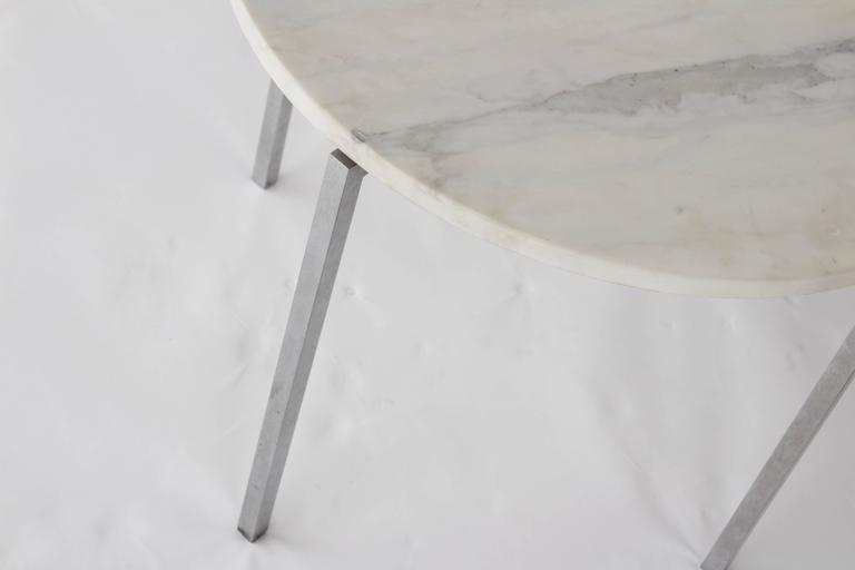 Vintage Knoll Attributed Marble and Metal Side Table For Sale 3