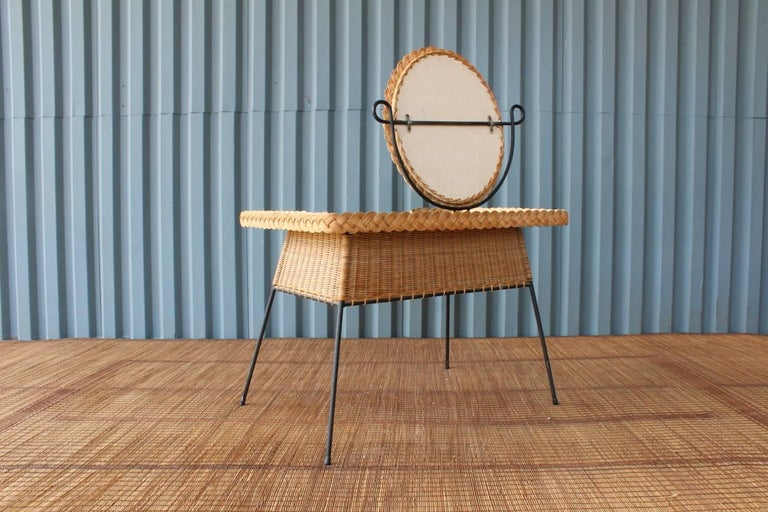 Vintage Wicker And Iron Vanity At 1stdibs