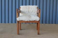 Pine and Cowhide Chair, 1970s.