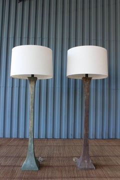Pair of 1960s Metal Floor Lamps with Heavy Patina