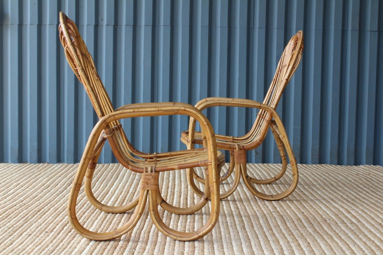Pair of Bamboo Armchairs in the Style of Franco Albini, 1960s, Italy In Good Condition For Sale In Los Angeles, CA