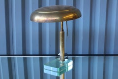 1950s Brass Desk Lamp with Glass Base