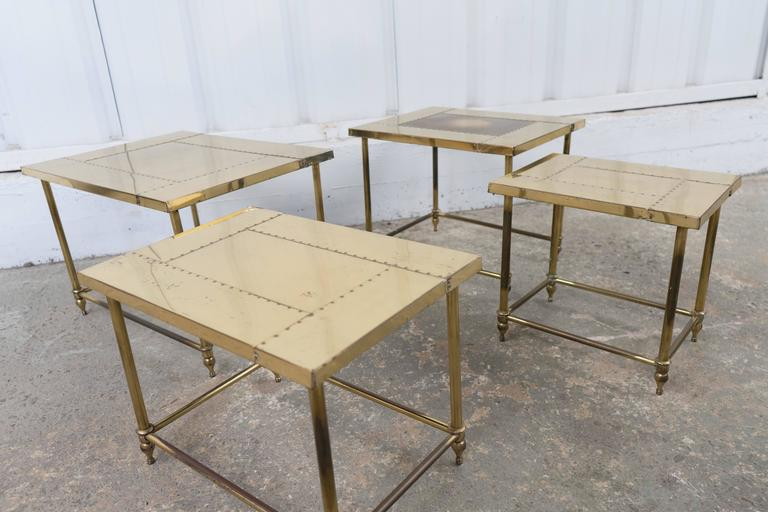 Pair of Brass Nesting Tables For Sale 2
