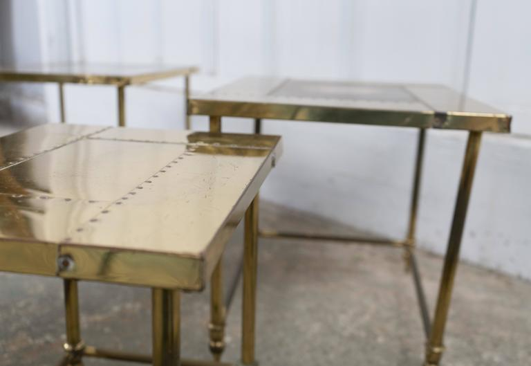 Pair of Brass Nesting Tables For Sale 1