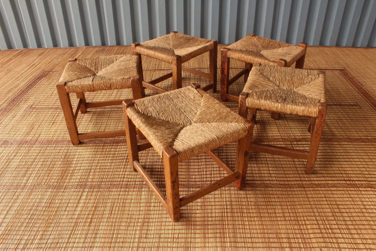 Vintage Wood Stools With Woven Rush Seats At 1stdibs