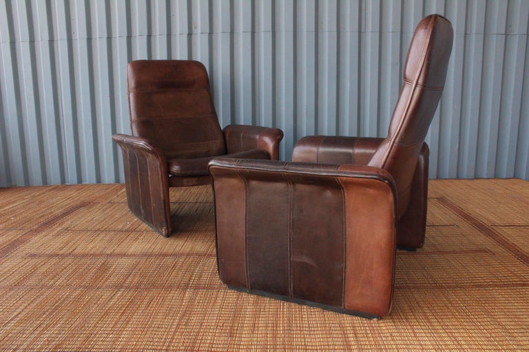 Pair of Leather DS-50 De Sede Reclining Chairs 2