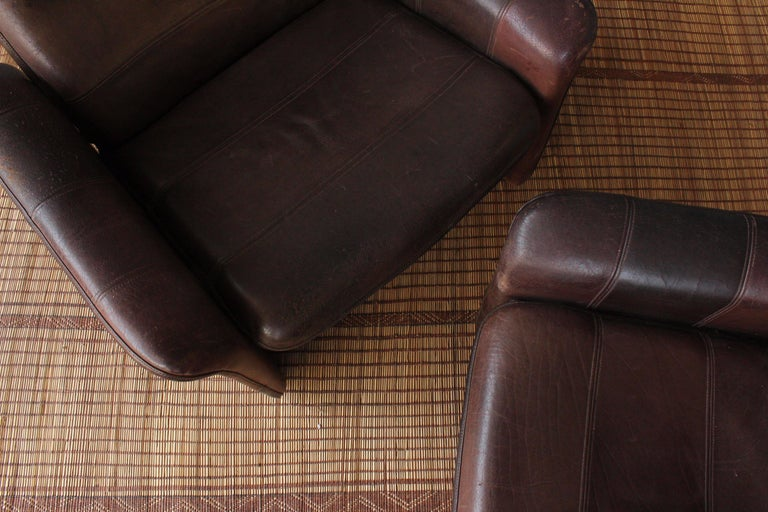 Pair of Leather DS-50 De Sede Reclining Chairs 3