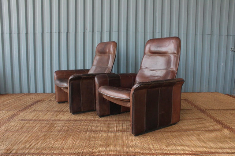 Pair of Leather DS-50 De Sede Reclining Chairs 4