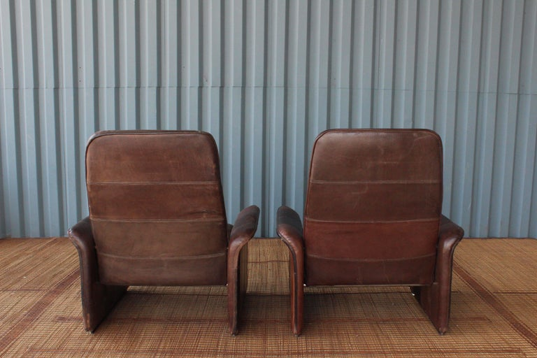 Pair of Leather DS-50 De Sede Reclining Chairs 5