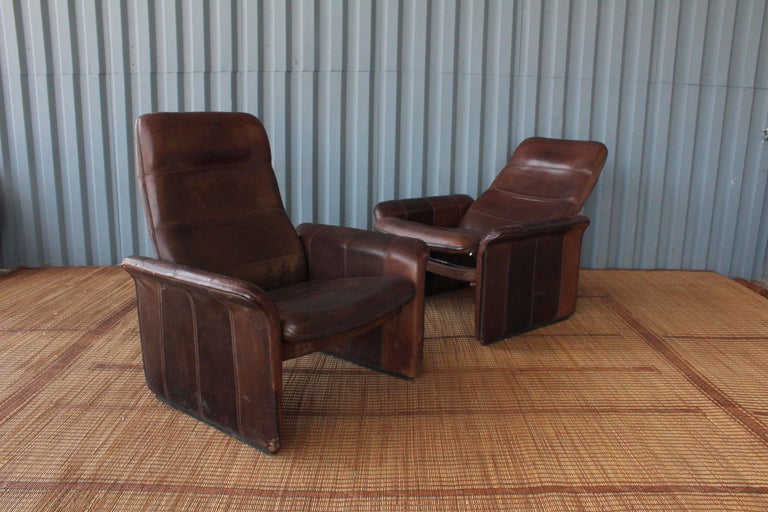 Pair of Leather DS-50 De Sede Reclining Chairs 6