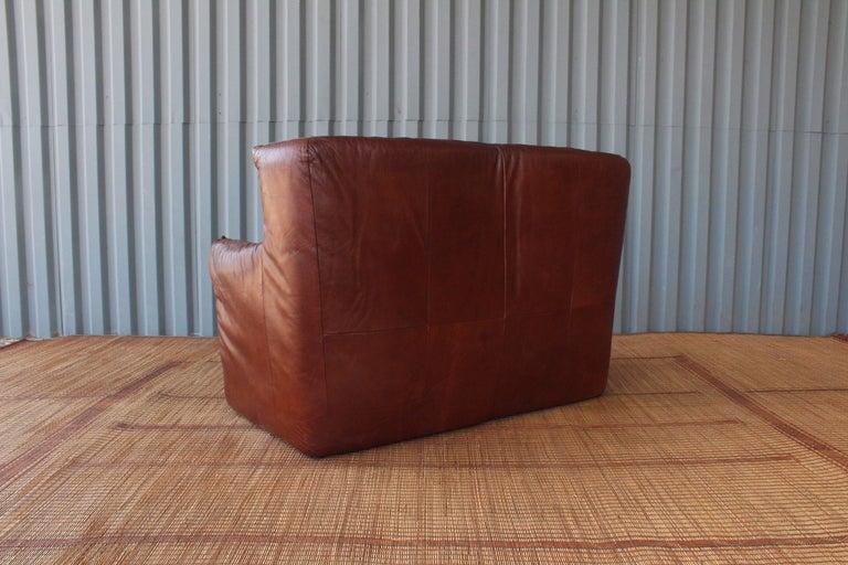 Mid-Century Modern Gerard Van Den Berg Leather Loveseat, Netherlands For Sale
