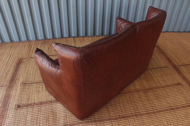 Dutch Gerard Van Den Berg Leather Loveseat, Netherlands For Sale