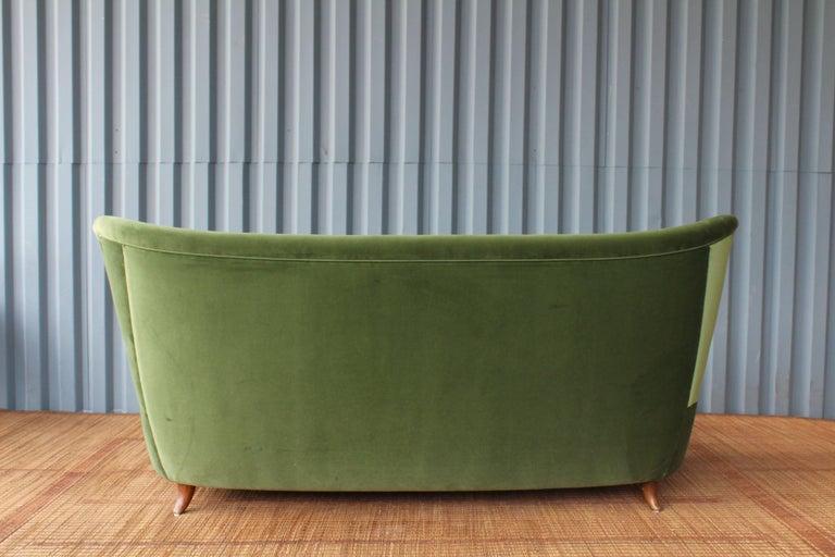 Velvet 1950s Italian Wing Back Sofa For Sale