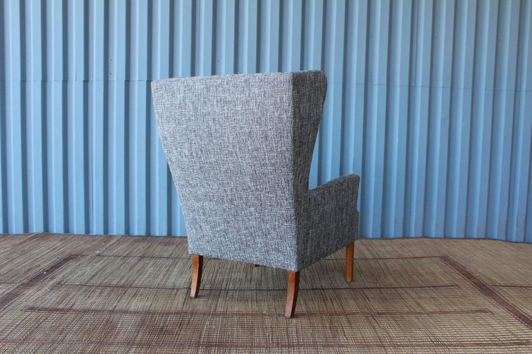 1960s Danish High Back Wing Chair in New Upholstery In Excellent Condition For Sale In Los Angeles, CA