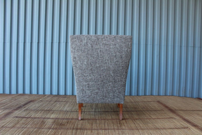 Mid-20th Century 1960s Danish High Back Wing Chair in New Upholstery For Sale