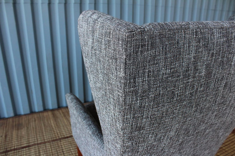 1960s Danish High Back Wing Chair in New Upholstery For Sale 1