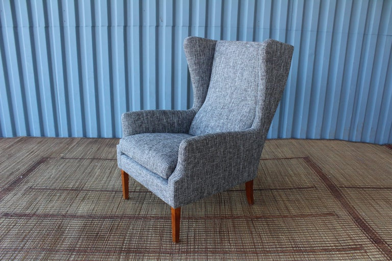 1960s Danish High Back Wing Chair in New Upholstery For Sale 2