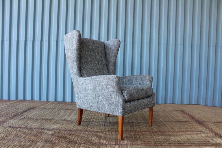 1960s Danish High Back Wing Chair in New Upholstery For Sale 3