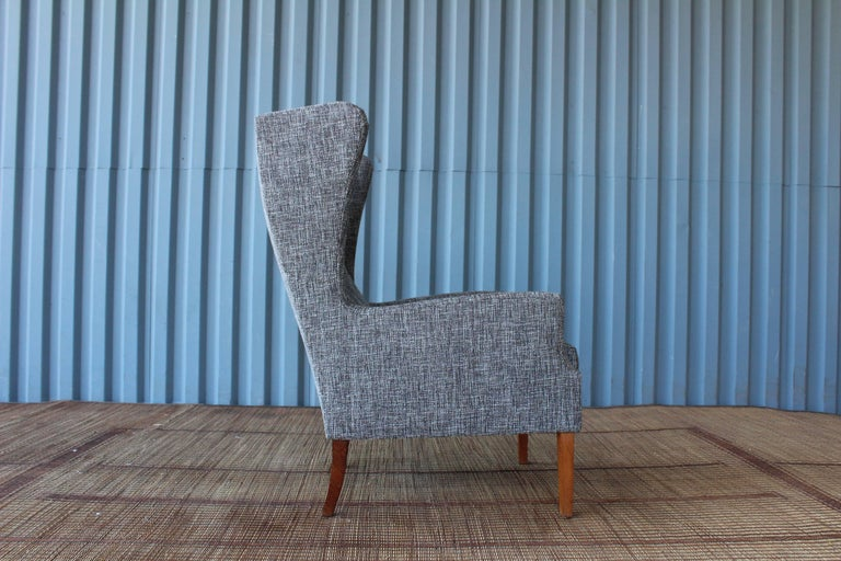 Mid-Century Modern 1960s Danish High Back Wing Chair in New Upholstery For Sale