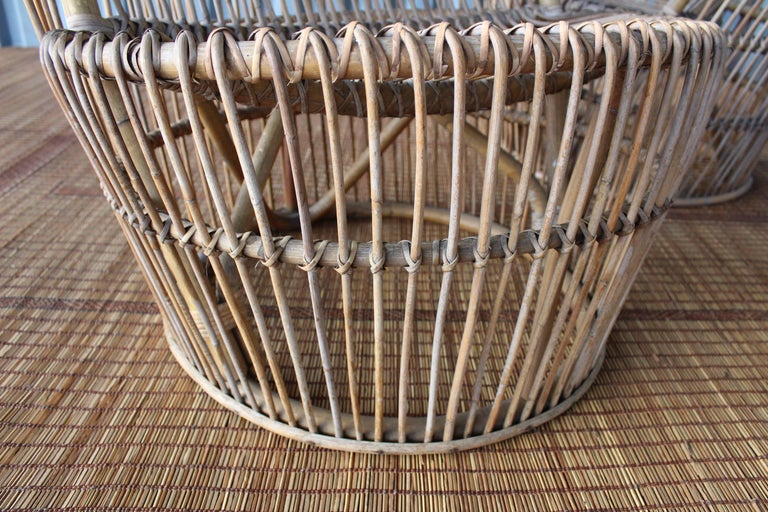 Pair of 1960s Italian High Back Rattan Chairs 5