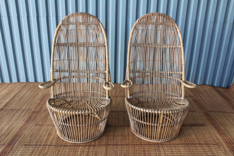 Pair of 1960s Italian High Back Rattan Chairs 8