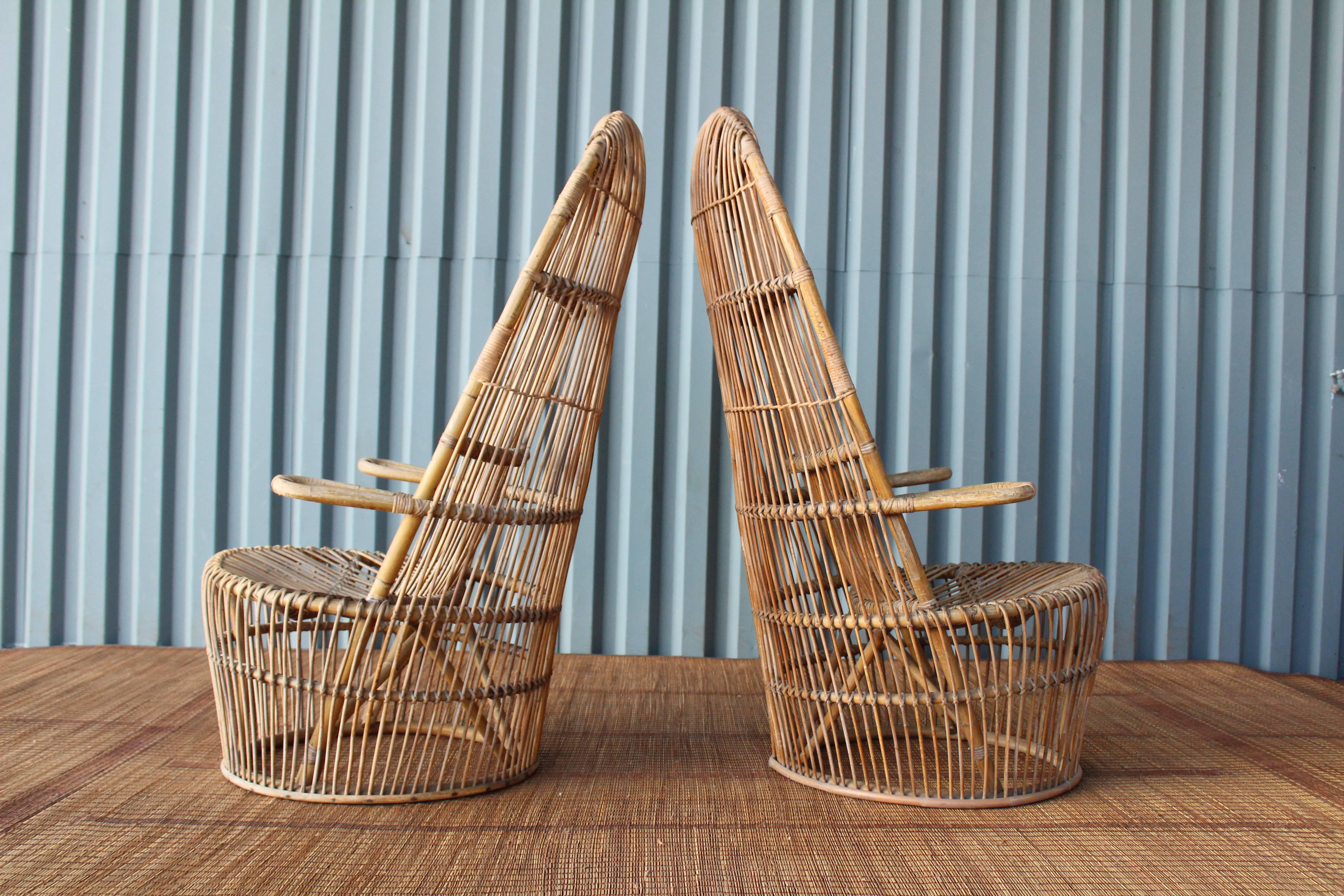 Perfect Mid Century Modern Pair Of 1960s Italian High Back Rattan Chairs For Sale