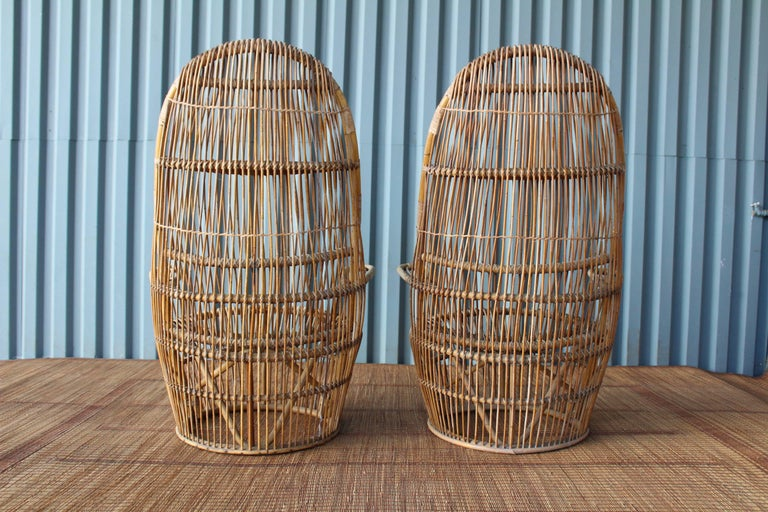 Pair of 1960s Italian High Back Rattan Chairs 4