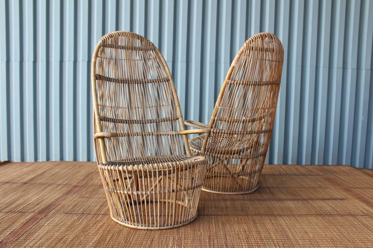 Pair of 1960s Italian High Back Rattan Chairs 2