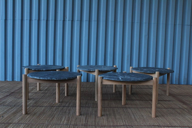 Slate Top Table with Teak Base, in the Style of Pierre Jeanneret For Sale 3