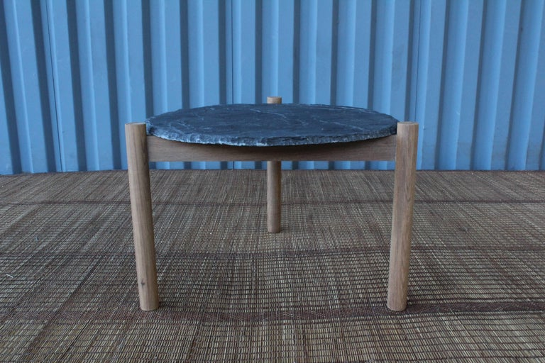 Mid-Century Modern Slate Top Table with Teak Base, in the Style of Pierre Jeanneret For Sale
