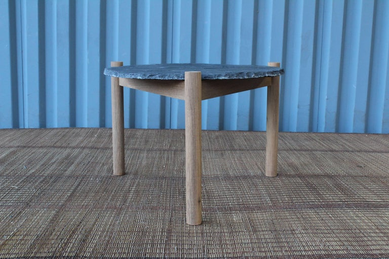 Slate Top Table with Teak Base, in the Style of Pierre Jeanneret In Excellent Condition For Sale In Los Angeles, CA