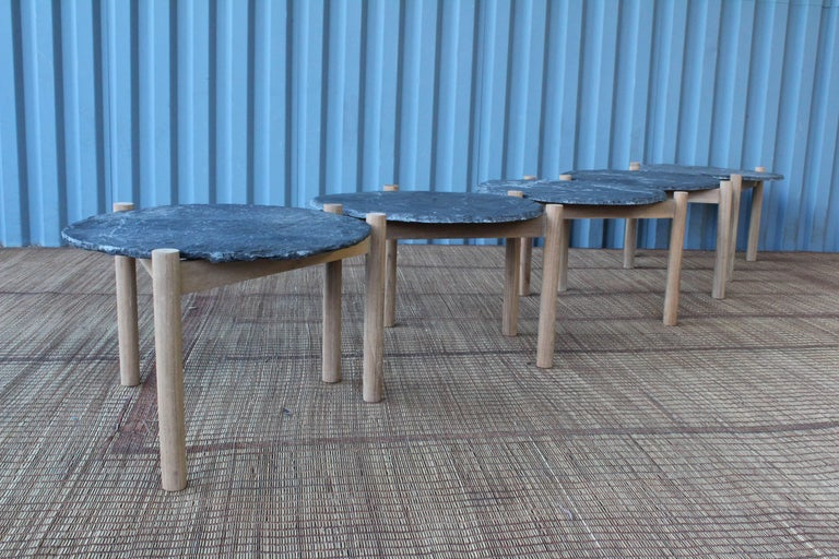 Slate Top Table with Teak Base, in the Style of Pierre Jeanneret For Sale 1