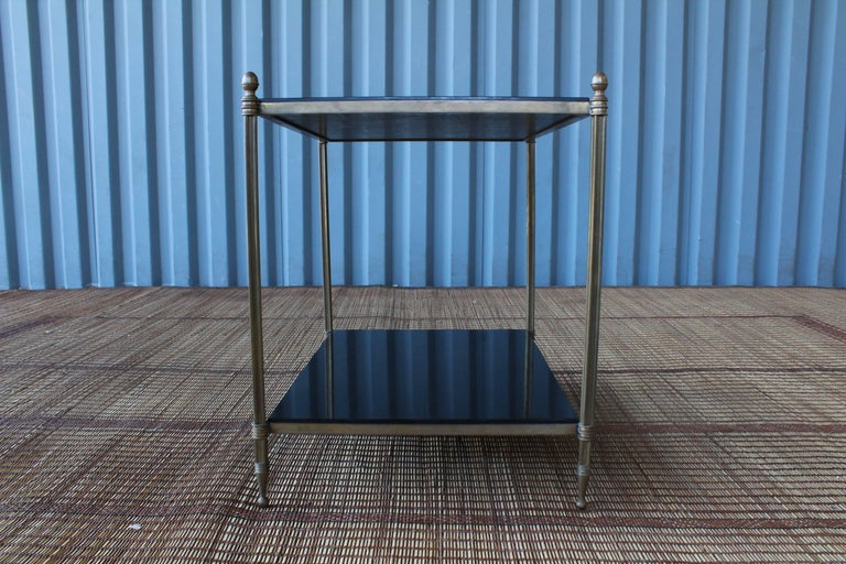 Solid Brass Two-Tiered Side Table In Good Condition For Sale In Los Angeles, CA