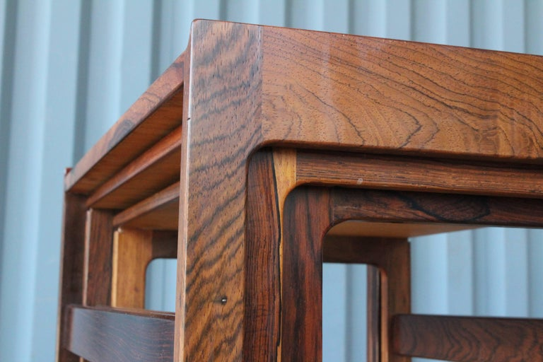 Mid-20th Century Set of Three Danish Nesting Tables in Rosewood For Sale