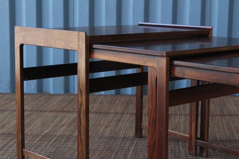 Set of Three Danish Nesting Tables in Rosewood For Sale 5