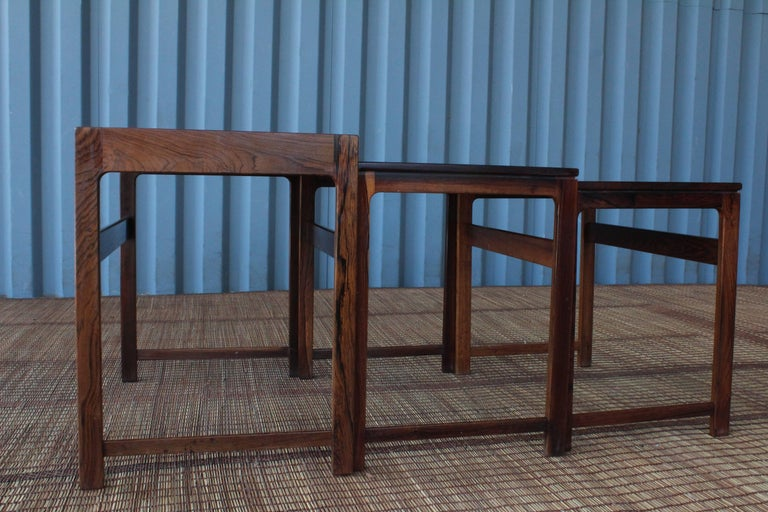 Mid-Century Modern Set of Three Danish Nesting Tables in Rosewood For Sale