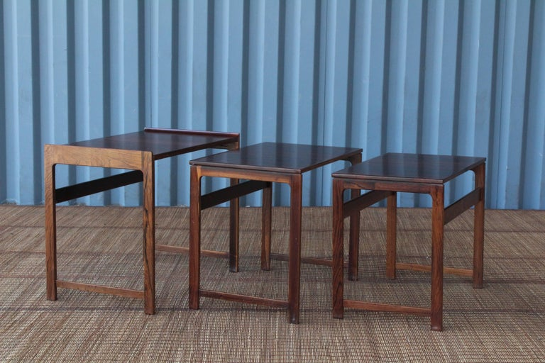 Set of Three Danish Nesting Tables in Rosewood For Sale 1