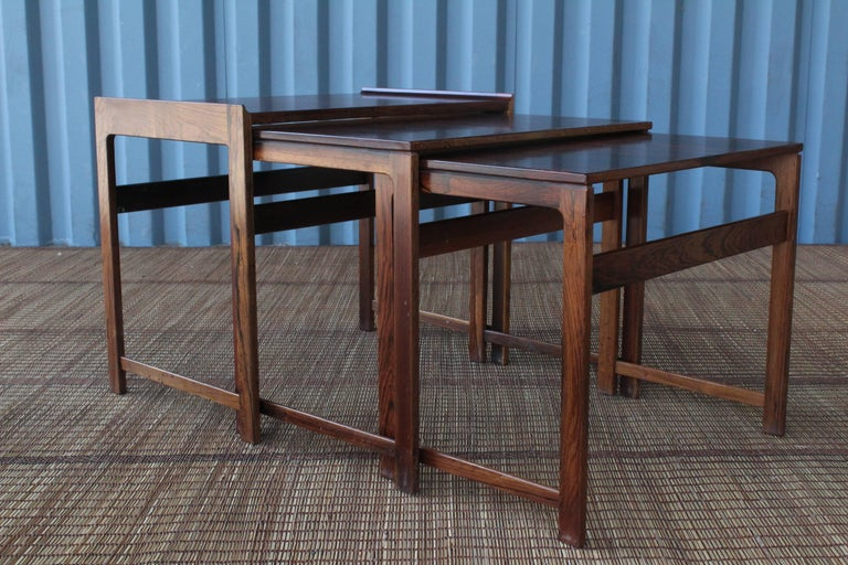 Set of Three Danish Nesting Tables in Rosewood For Sale 4