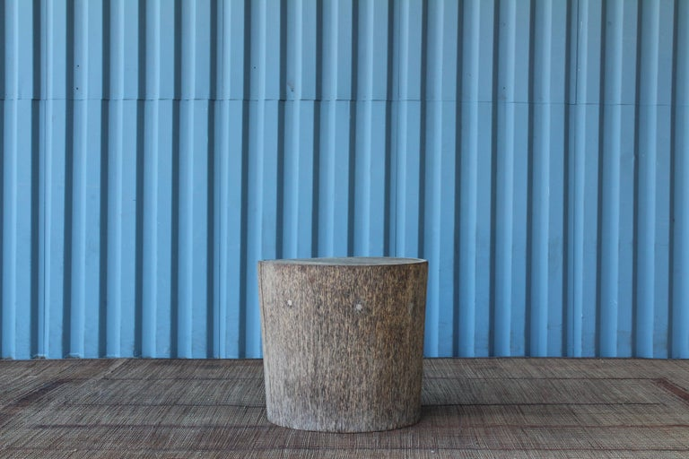 Organic Modern Vintage Indonesian Palm Wood Side Table For Sale