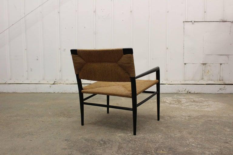 Ebonized Woven Rush Armchair by Mel Smilow, 1950s For Sale