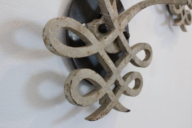 Mid-20th Century Pair of 1940s French Iron Sconces For Sale