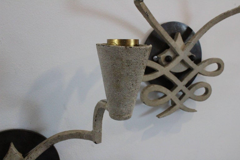 Pair of 1940s French Iron Sconces For Sale 2