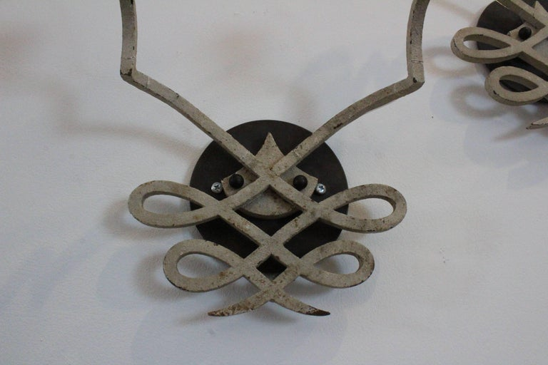 Pair of 1940s French Iron Sconces For Sale 1