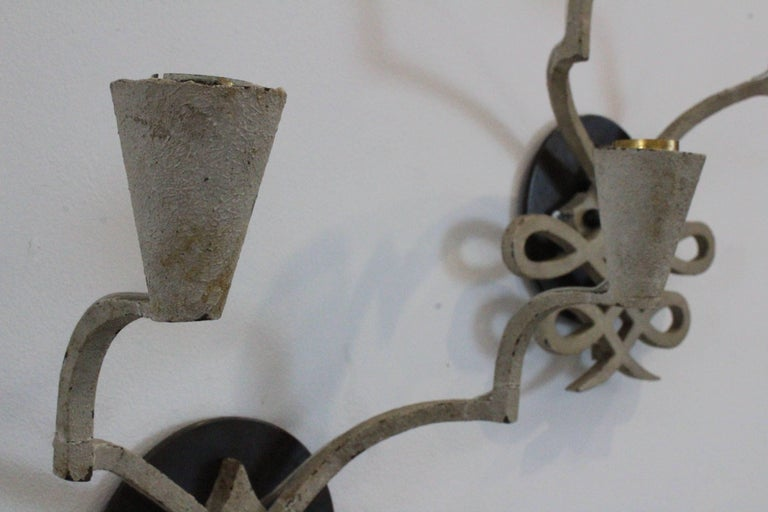 Pair of 1940s French Iron Sconces In Excellent Condition For Sale In Los Angeles, CA