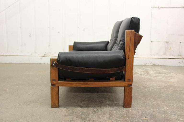 French Pierre Chapo Loveseat in Solid Elm, France, 1960s For Sale