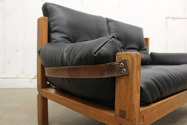 Mid-Century Modern Pierre Chapo Loveseat in Solid Elm, France, 1960s For Sale