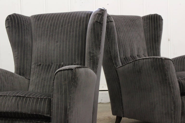 Velvet Pair of Armchairs by Paolo Buffa, Italy, 1950s For Sale